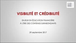 (Présentation à l'AMF en éducation financière) Visibilité et crédibilité des contenus web.
